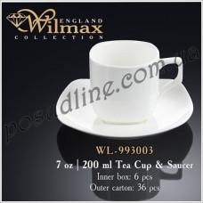 Чашка чайная с блюдцем Wilmax 200 мл WL-993003