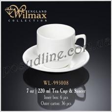 Чашка чайная с блюдцем Wilmax 220 мл WL-993008